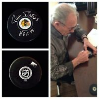 Pierre Pilote Chicago Blackhawks Signed Autograph Hockey Puck HOF 75 NHL