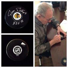 Pierre Pilote Chicago Blackhawks Signed Autograph Hockey Puck Hof 75 Nhl
