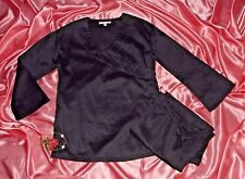 USA M Black Egyptian Cotton Sateen Pajamas Surplice Top Wide Pants NWOT