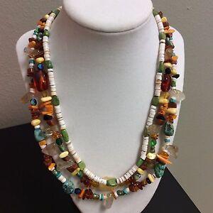 Multi strand Southwestern Necklace Turquoise Quartz Amber Crystals