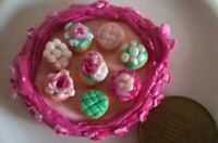 Pink Shabby Chic miniature tray with cup cakes dolls house food 1/12 scale OOAK