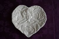 Vintage CUPID White VALENTINE HEART Ceramic Dish Bowl Made in Italy, Valentines