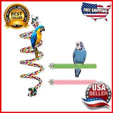 Bird Perch Stand Bird Rope Perch Bird Toys 3 Pcs Parakeets Cockatiels Conures .