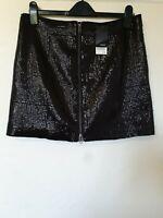 Next Sequin Zip Front A Line Mini Skirt Size 14