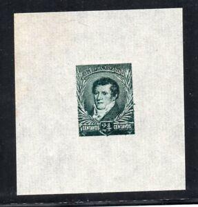 1892 ARGENTINA RARE 24c BELGRANO GREEN PROOF MINT, GREAT MARGINS, WOW