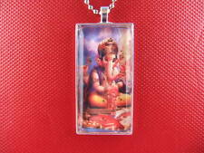GANESH SEATED ART GLASS TILE PENDANT / NECKLACE