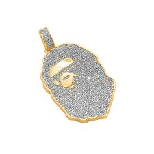 14k Gold Plated Custom Iced Out Bling Lab Diamond Ape Pendant with Chain