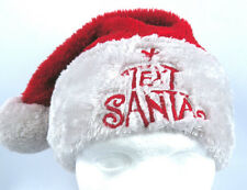Text Santa Claus Red White Warm Christmas Faux Fur Bobble Beanie Hat - Size L-XL