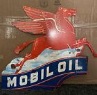 """VINTAGE MOBIL OIL PORCELAIN GASOLINE SERVICE STATION PUMP PEGASUS 17"""" H SIGN"""