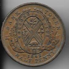Vintage Province of Canada 1842 Bank Montreal Bank Token Half Penny High Grade
