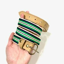 Rope Belt with Embroidered Stripes Beige Green Navy Blue Light Tan Size 34 Men