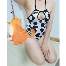 Sweet Big Cows Print Jumpsuits Cosplay Sexy Bodysuits Swimsuit Erotic Lingerie