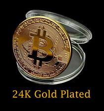 24k Gold Plated Bitcoin BTC Crypto Collectible Novelty Coin + Case