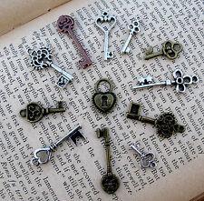 Skeleton Key Lock Vintage Silver 11 Charm Pendant Steampunk Jewelry Gift Lot NR!