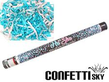 """24"""" Gender Reveal Confetti Streamer Cannon Boy Blue Baby Shower Party POP SEE"""