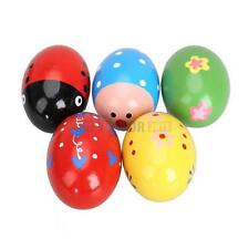 5PCS Baby kids Rattles Wooden Music Egg Shaker Play Toy Maracas Percussion Gift