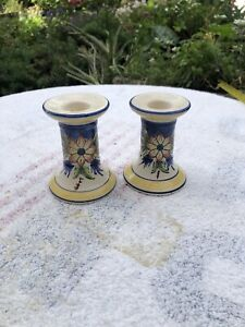 Vintage Porcelain Candlestick Holders White And Blue With Flowers Bristow Malta