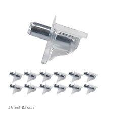 16 x Häfele Shelf support pin peg stud clear plastic & metal steel 5mm shelve