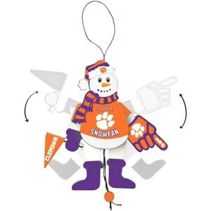 Clemson Tigers Cheering Snowman Christmas Ornament Arms & Legs Move Brand New