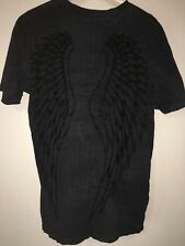 Affliction Black Tshirt Angel Wings Mens Size Large Lion Distressed