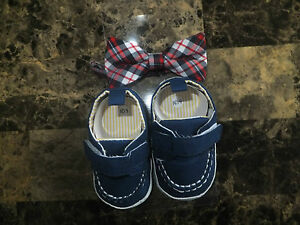NEW NURSERY TIME BABY BOY BOW TIE & SHOES SET NAVY BLUE 0 - 6 MTS, 6 - 12 MTS