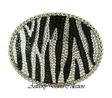 Zebra Crystal Belt Buckle with Swarovski Crystals & Genuine Leather Black Belt