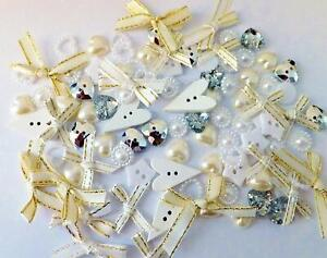 100 pieces Luxury WeddingThemed Buttons, embellishments and bows, wedding decor