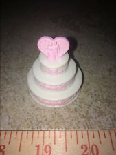 Barbie White Pink Wedding Cake Heart Rose Bride Groom Reception Accessory