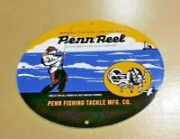VINTAGE PENN REELS PORCELAIN SALT WATER FISH STORIES TACKLE LURES SERVICE SIGN