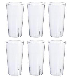 32 oz Break Resistant Tritan Plastic Stackable Restaurant Tumbler Set of 6 Clear