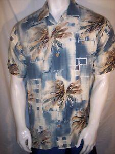 Joseph & Feiss Small  Art & Palm Trees Silk Hawaiian Shirt
