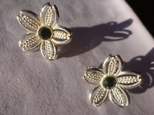 Beautiful signed SARAH COV 9 gram 27mm open silverplated flower clip earrings