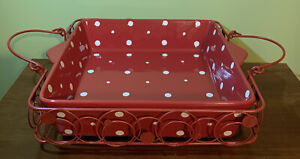 "Temptations Red Polka Dot 11 1/4"" Large Square Baker Casserole W/ Metal Carrier"