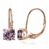 Rose Gold Flashed 925 Silver Simulated Alexandrite 6mm Round Leverback Earrings