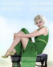 JEAN HARLOW SITTING ON A PURPLE BENCH BEAUTIFUL COLOR PHOTO BY CHIP SPRINGER