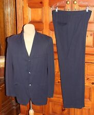 Vtg 50s Brent Navy Wool - Rayon Suit Cuffed Pants Thin Lapel Jacket 39 Ch 32 W