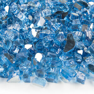 "VIVID Pacific Blue Reflective Fireglass 1/2"" Inch Fireplace / Fire Pit Glass"