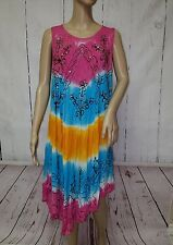 California Woman Free Size Sequin Embroidered Sun Dress Tie Dye Summer Floral