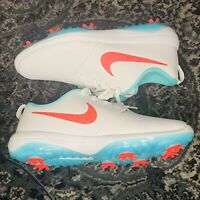 Nike Roshe G Tour Golf Cleats Hot Punch White Shoes AR5580-103 Men's Size 9.5