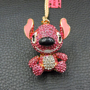 Woman's Pink Crystal Cute Stitch Baby Betsey Johnson Pendant Chain Necklace