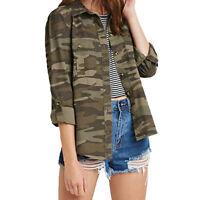 Women Camouflage Camo Print Long Sleeve Shirt T-Shirt Jacket Cotton Blouse S-2XL