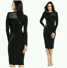 NEW MARCIANO by GUESS Zuzanna Black Lace Midi Length w Stretch Dress 4 6 SMALL S