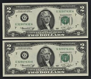 TWO (2) CONSEC 1976 BiCentennial $2 GEM CU U.S. FRN~BRAND NEW, YET 45 YEARS OLD!