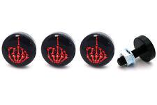 4 Black Billet Aluminum - Custom License Plate Frame Tag Bolts - Skeleton Finger