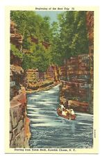 Beginning of the Boat Trip Table Rock Ausable Chasm New York NY Postcard