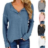 Long Tops Shirts Jumper Henley Tee Fall Neck Sleeve Loose Womens Knitted T-shirt