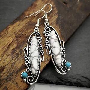 Unusual White Turquoise Earrings Dangle Stone Metal Ethnic Vintage Jewellery