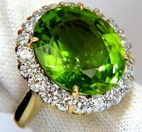 GIA 19.89ct NATURAL VIVID GREEN OVAL PERIDOT DIAMOND RING HALO 18KT+