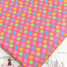 100% Cotton Print Fabric Fat Quarters 8mm Retro Polka Dot Spot Material D14 Pink