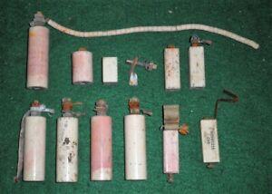 Antique White Porcelain Electrical Parts Some With Copper Connectors